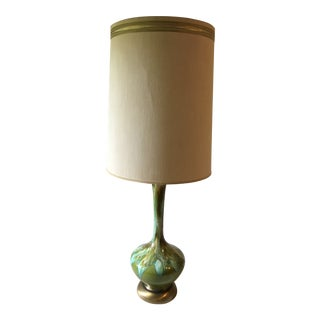 Mid Century Modern Green, Teal, Amber, Brown Glazed Table Lamp & Original Shade