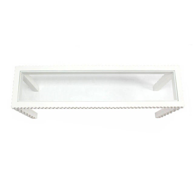 Lacquer Vintage Mid Century Pineapple Pattern Carved White Lacquer Console Table For Sale - Image 7 of 10