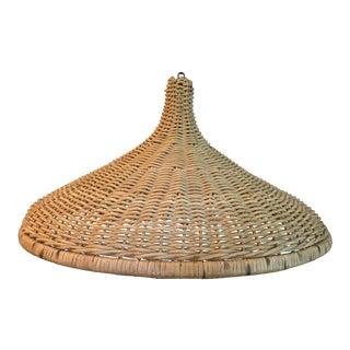 Vintage Raw Wicker Parasol Pendant Light For Sale