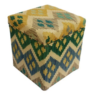 Cristin Ivory/Green Kilim Upholstered Handmade Storage Ottoman For Sale