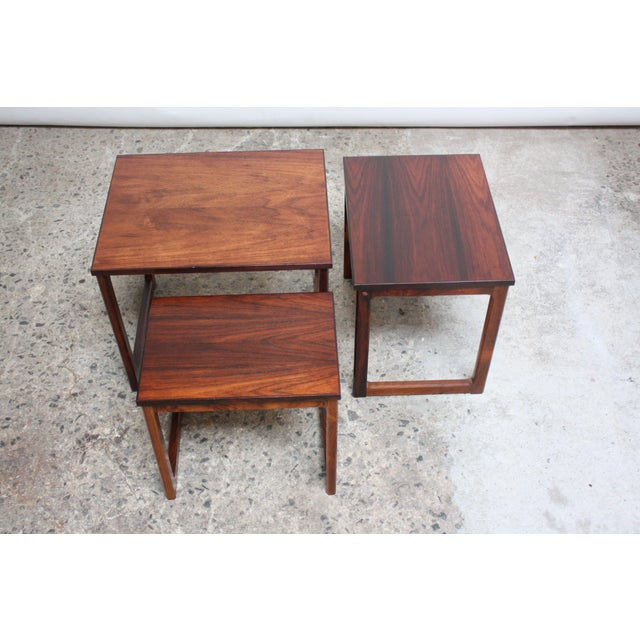Rosewood Trio of Danish Rosewood Nesting Tables For Sale - Image 7 of 9