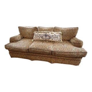 Drexel Heritage Cotton Velvet Paisley Contour Fabric Sofa For Sale