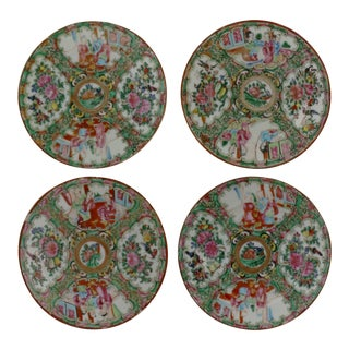 Antique Chinese Qing Rose Medallion Porcelain 6 Inch Plates Set of 4 For Sale