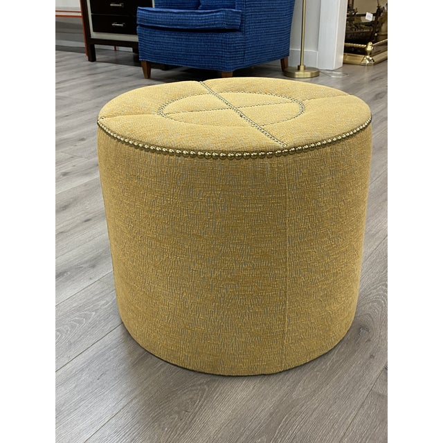 2010s Upholstered Nailhead Trim Footstool Ottoman Pouf Beautiful Fabric For Sale - Image 5 of 8