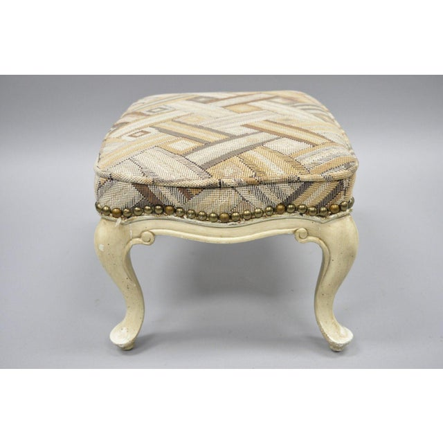 French Provincial Petite French Provincial Louis XV Style Cream Painted Ottoman Small Footstool For Sale - Image 3 of 12