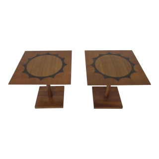 Mid Century Walnut/ Rosewood/ Mahogany Pedestal End Tables For Sale