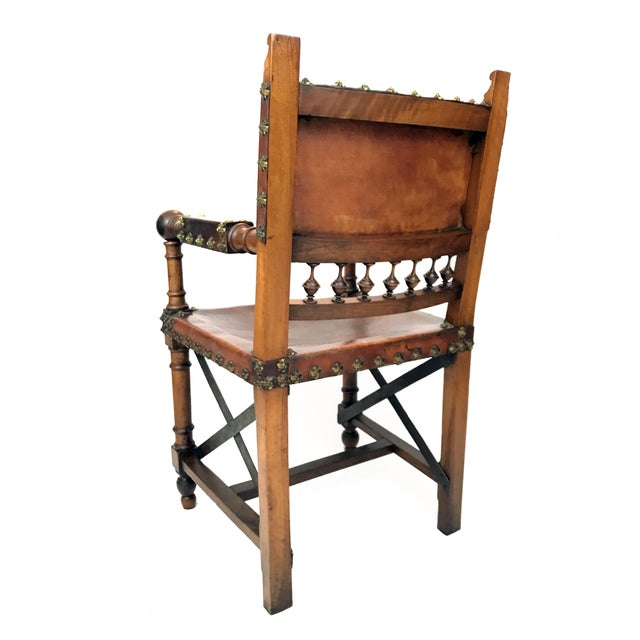 Gothic 19th Century Renaissance Revival Leather Game of Thrones Style Armchair For Sale - Image 3 of 9