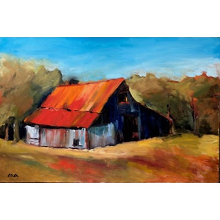 Corinne Galla Red Roof Barn Painting For Sale