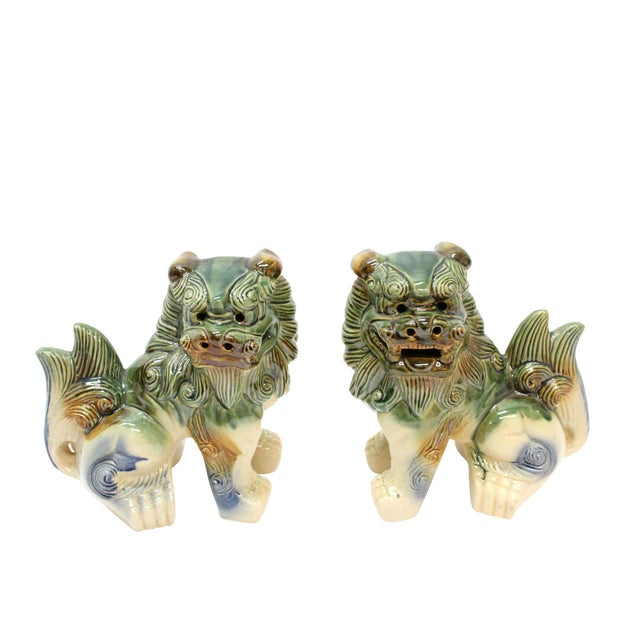 Modern Glazed Pottery Foo Dogs - A Pair For Sale