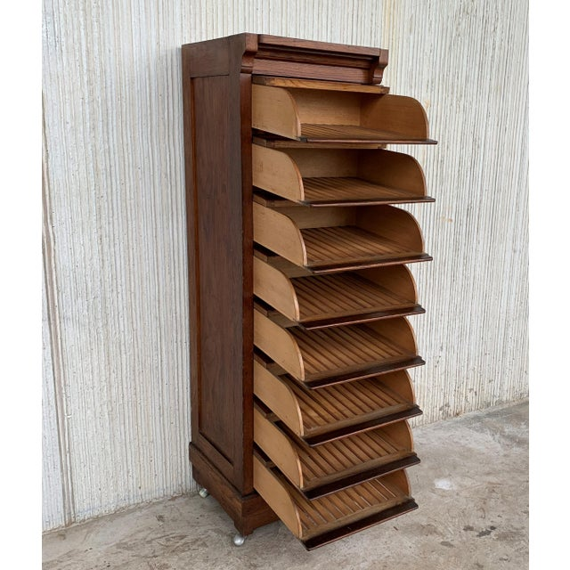 Art Deco Filing Cabinet With Eight Sliding Drawers and Wheels For Sale - Image 4 of 9