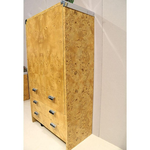 Hollywood Regency 1980s Burl Wood Armoire by Leon Rosen for Pace Collection For Sale - Image 3 of 5