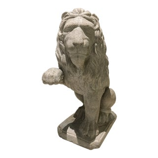 20th Century French Cast Stone Lion Statue For Sale