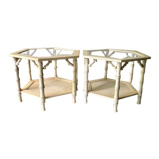 1970s Asian Antique Faux Bamboo Side Tables - a Pair