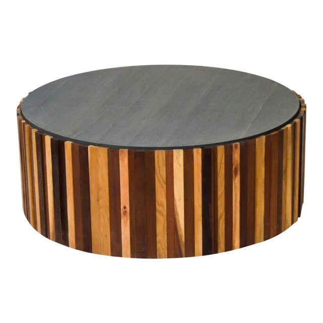 Round Salvaged Wood Coffee Table For Sale