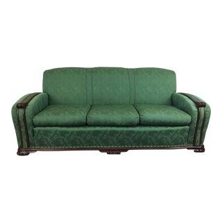 Art Deco Green Upholstered Sofa For Sale
