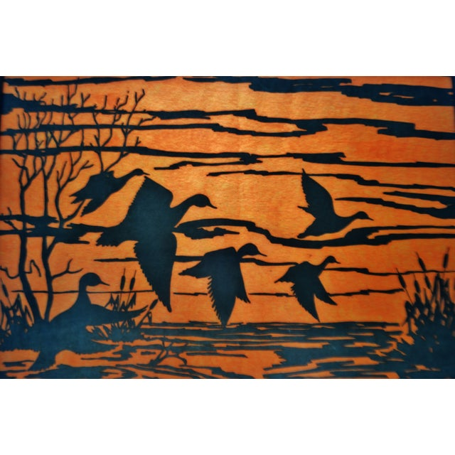 Vintage Orange Water Fowl Artwork - Image 6 of 10