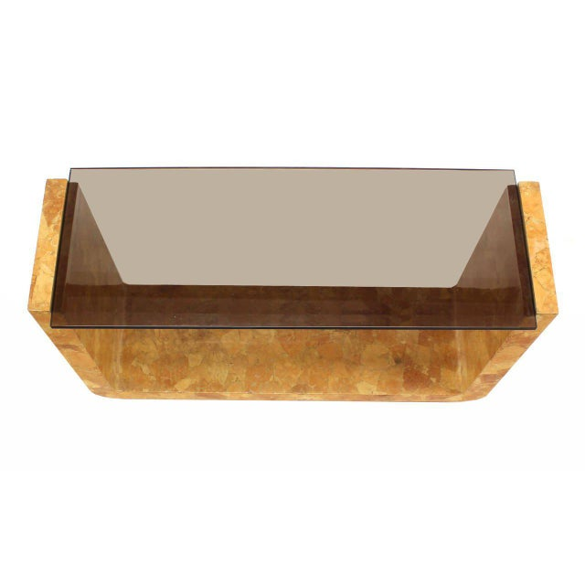 Mid-Century Modern Vintage Mid Century Burl Wood Smoked Smoked Glass Top U-Shape Console Table For Sale - Image 3 of 7