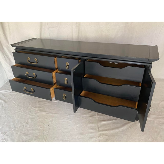 Black Mid Century Kent Coffey Chinoiserie Pagoda Credenza For Sale - Image 8 of 13