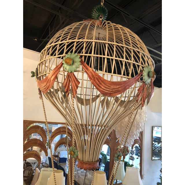 Hollywood Regency Vintage Italian Tole Metal Hot Air Balloon Chandelier For Sale - Image 3 of 13
