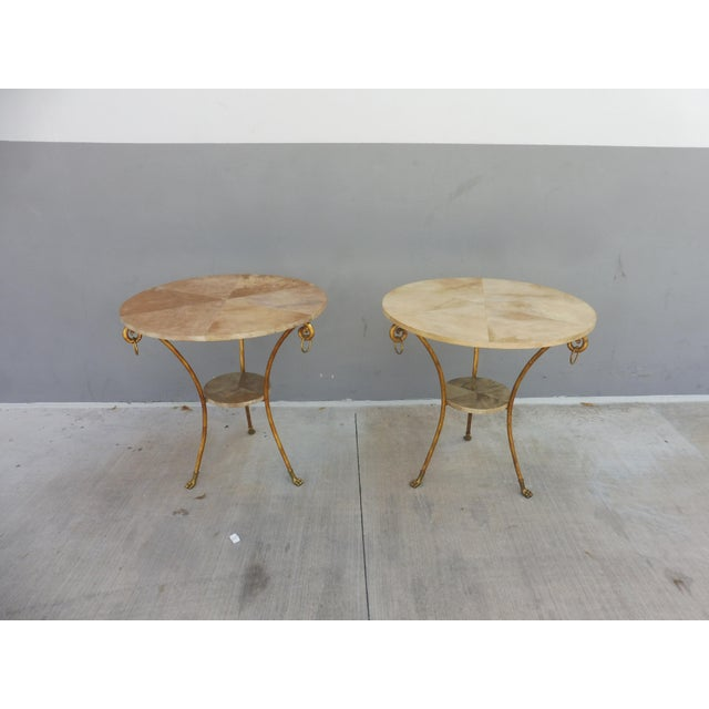 Contemporary Parcel Gilt Wrought Iron and Goat Skin Tables - a Pair For Sale - Image 3 of 13