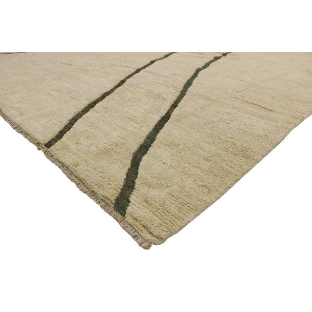 80523 Contemporary Moroccan Area Rug with Minimalist Style 10'02 x 13'10. This hand knotted wool contemporary Moroccan...