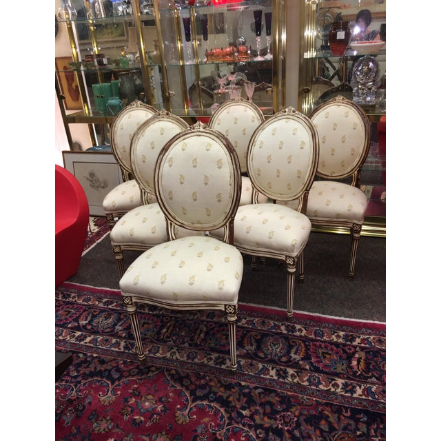 Set of (6) antique reproduction Louis XVI dining chairs. Painted, newly upholstered and sanded back to add freshness: very...