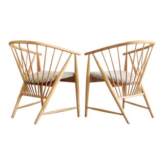Set of 2 Blonde Spindle Sun Feather Armchairs by Sonna Rosen, Sweden For Sale