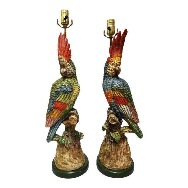 Polychrome Porcelain Cockatoo Figurative Lamp - a Pair For Sale