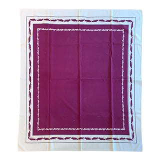 1950s Raspberry and White Bordered Tablecloth For Sale