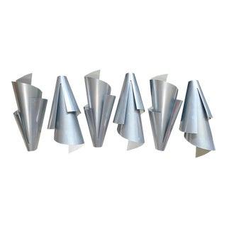 Post Modern Ron Rezek Spiral Aluminum Wall Sconces Light Fixtures For Sale