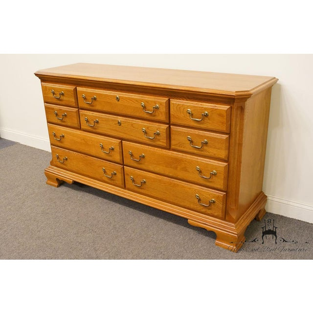 "Sumter Cabinet Co. Solid Oak Country French 64"" Double Dresser For Sale - Image 4 of 13"