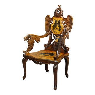 Finely Carved and Inlaid Walnut Edelweis Arm Chair, Swiss Brienz Ca. 1900 For Sale
