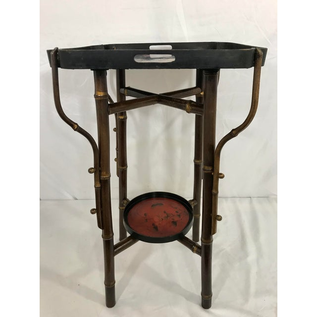 Late 19th Century Napoleon III Faux Bamboo and Laquer Side Table For Sale - Image 5 of 7