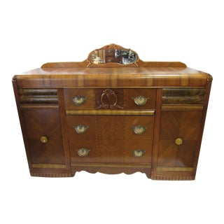 1920s Art Deco Waterfall Buffet or Sideboard For Sale
