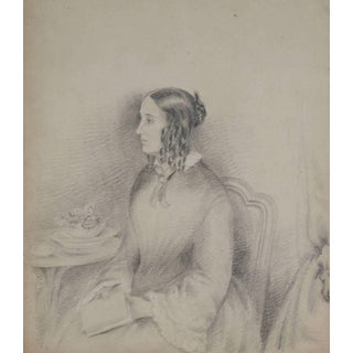 James Ramsay Delicate Female Portrait Drawing in Graphite, 1800s For Sale