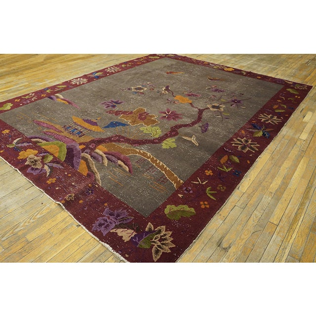"""Antique Chinese Art Deco Rug 8'10""""x11'6"""" For Sale - Image 4 of 13"""