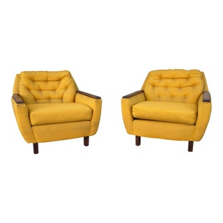 Mid-Century Gold Tufted Upholstered Lounge Chairs - a Pair For Sale