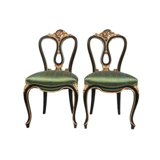 "Superb Rare Antique Venetian Side Chairs Pair 39.75"" H For Sale"