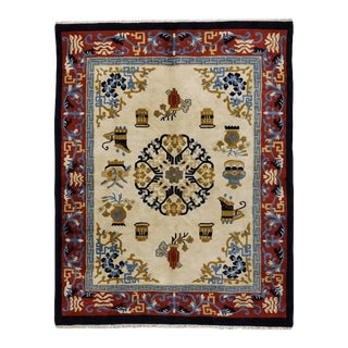 1970s Vintage Indo-Chinese Art Deco Inspired Rug - 7′10″ × 10′ For Sale