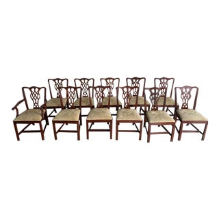 Mahogany Henkel Harris Chippendale Dining Chairs - Set of 11 For Sale