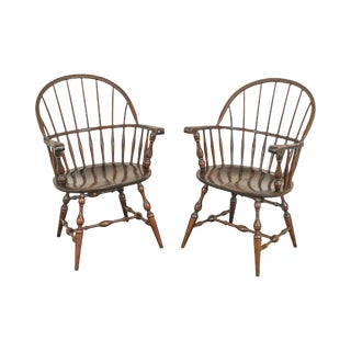 S. Bent & Bros Vintage Pair Maple Windsor Arm Chairs For Sale