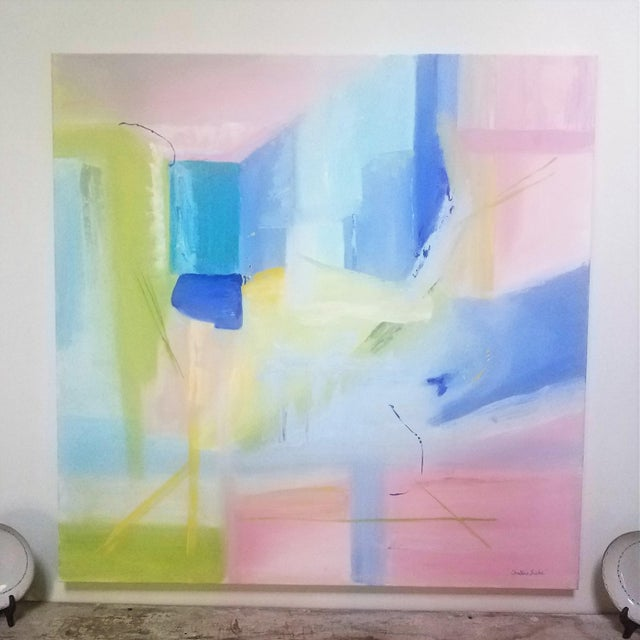 """Canvas Contemporary Christine Frisbee """"Turquoise Door"""" Oil on Canvas Painting For Sale - Image 7 of 7"""