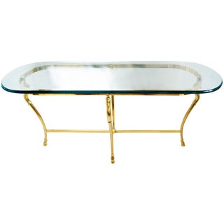 La Barge Style Glass Brass Console Table For Sale