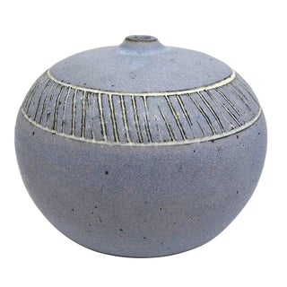 Pale Purple Weed Vase With Sgraffito Decoration For Sale