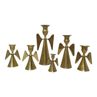 1960s Brass Angel Candle Holders - Set of 6 For Sale