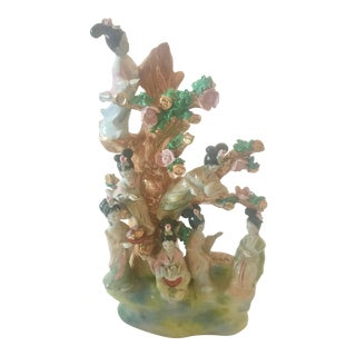 Vintage Chinoiserie Statue of the 7 Fairies of the Seasons For Sale