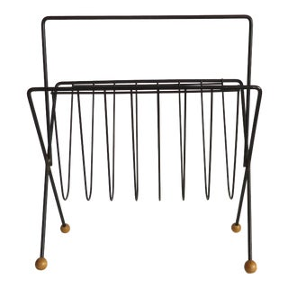 Mid Century Modern Tony Paul Black Iron & Wood Magazine Rack