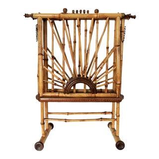 Mid Century Bamboo & Cane Folding 'Sunburst' Magazine & Book Storage Rack For Sale