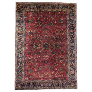 20th Century Persian Yazd Area Rug -10′10″ × 15′1″ For Sale