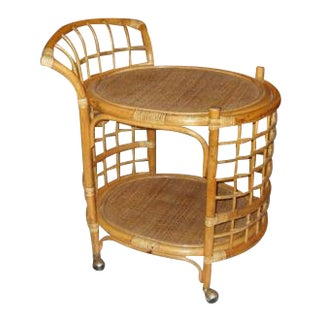 Mid Century Modern Rattan Rolling Cart, 1960's For Sale